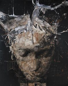 nicola   samori  This image is hard to define, but in simple terms, it does fulfill our needs. It is a light colored face and haired person, with a dark contrasted background.