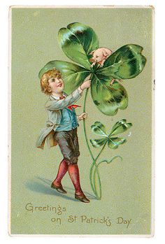 St Patricks Day Irish Lad Pig Piglet In Four Leaf Clover Vintage Tucks Postcard