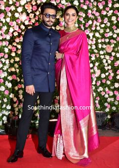 Deepika and Ranveer attended Kapil Sharma and Ginni Chatrath's wedding reception. Deepika in pink saree by raw mango Couple Wedding Dress, Wedding Dresses Men Indian, Indian Dresses, Indian Outfits, Wedding Outfits For Men, Mens Wedding Wear Indian, Indian Clothes, Deepika Padukone Saree, Deepika Ranveer