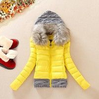 Wish | fur collar Women 's cotton jacket jacket knitted wool hat cotton coat large down cotton clothing