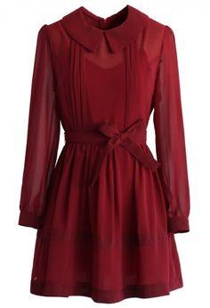 Sweet Peter Pan Collar Chiffon Dress