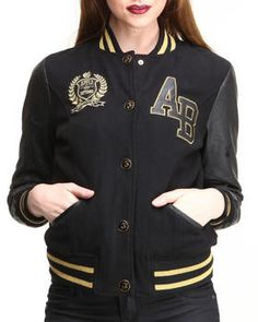 Buy Varsity Wool Jacket Vegan Leather Sleeves Women's Outerwear from Apple Bottoms. Find Apple Bottoms fashions & more at DrJays.com