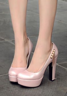 bc8ad01b00a Pink Round Toe Chunky Pearl Tassel Fashion High-Heeled Shoes Pink Toes