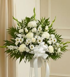 1800Flowers - Heartfelt Sympathies White Standing Basket - Small - http://yourflowers.us/1800flowers-heartfelt-sympathies-white-standing-basket-small-2/