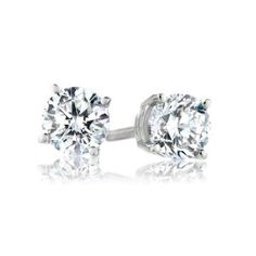 IGI-Certified Gold Round-Cut Diamond Stud Earrings cttw, H-I Color, Clarity) Diamond Studs, Diamond Jewelry, Diamond Earrings, Stud Earrings, Round Cut Diamond, Round Diamonds, Belly Rings, Ear Rings, Diamond Are A Girls Best Friend