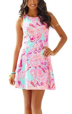 Lilly Pulitzer Cove Sleeveless Fit & Flare Dress-Poolside Blue Love Birds