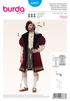 Burda B6887 Burda Style Historical Costumes | Sumptuous Renaissance style coat and hat of the age of Shakespeare. Precious fabrics, faux fur, ribbons and feathers are featured. Homemade stockings. Vide pattern n° 6888 for underwear and knee breeches