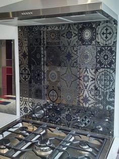 Antique Mirror Moroccan Tiles glass splashback. Antique Mirror Splashback, Antique Mirror Tiles, Beach House Kitchens, Kitchen Flooring, Kitchen Cabinets, Moroccan Tiles, Glass Kitchen, Wall Art Decor, Antiques