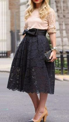 Gorgeous Black Lace Hollow-out Bow Below Knee  Skirt #Elegant #Black #Lace #BowKnot #Party #Skirt #Fashion
