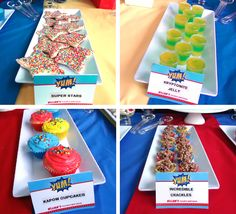 Superhero party food! Kapow Cupcakes, Incredible Crackles, Kryptonite Jelly and Super Star Cookies.