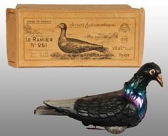 V.B. & Co. early tin pigeon wind-up toy and original box, France ...