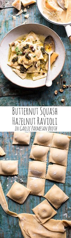Butternut Squash Hazelnut Ravioli in Garlic Parmesan Broth | halfbakedharvest.com @hbharvest