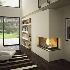 Foyer fermé à bois / d'angle / en métal / avec porte escamotable HORIZON 1000 TOTEM fire