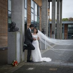 bride and groom on the grounds of university of limerick