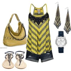 Grey and Yellow, created by amycxoxo on Polyvore