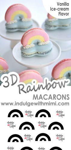 Macaron Cookies, Macaron Recipe, Ice Cream Flavors, Vanilla Ice Cream, Fresco, Macaroons Flavors, Macaron Template, Macaron Filling, Vanilla Macarons