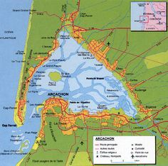 Carte du Bassin d'Arcachon Arcachon, foro los viajeros                                                               . Map of Arcachon Gulf