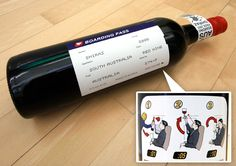 Boarding Pass Shiraz label is one of the most creative theme-based designs in recent years.  The front label is essentially a boarding pass with the travel details replaces with information about the wine.  This 2005 Shiraz has been a big hit in the world of packaging design, encompassing the entire air travel experience in one bottle.