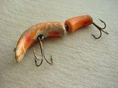Vintage Antique Wooden Fishing Lure Wood Jointed 3 inch Orange Red 2 hook J3113 #UnbrandedGeneric Seller florasgarden on ebay