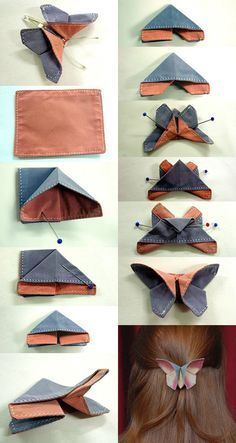 kreative frisur-dekoration mit schmetterling-Origami aus Textil The Effective Pictures We Offer You About DIY Hair Accessories wood A quality picture can tell you many things. You can find the most be Sewing Hacks, Sewing Tutorials, Sewing Crafts, Sewing Projects, Sewing Patterns, Sewing Tips, Fabric Butterfly, Origami Butterfly, Fabric Flowers
