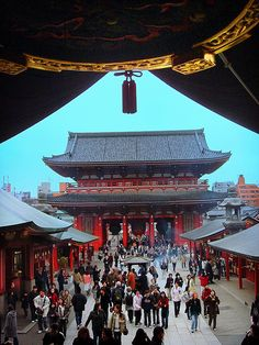 Sensoji  Temple in Asakusa. Tokyo, Japan. It is the oldest temple in Tokyo. Nakamise Dori (street) has a lot of fun shopping for traditional items, made with washi paper or chirimen silk, plus many more. Also freshly made Osembei (rice crackers) and in the summer kaki-gori (shaved ice) SO good!!