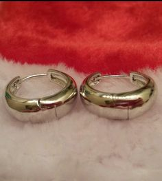 "3/4"" Solid Tapered Huggie Hoop Earrings 9k White Gold Filled Jewelry 20mm #Huggie"