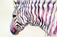 Magenta Zebra Watercolor Painting Original Wall Art