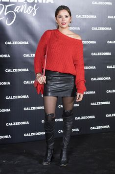 Cristina Alarcon attends Calzedonia Anniversary party in black leather skirt sweater OTK boots red carpet Black Leather Pencil Skirt, Leather Mini Skirts, Black Thigh High Boots, Donia, Black Pantyhose, Nylons, Fashion Heels, Rock, Leather Fashion
