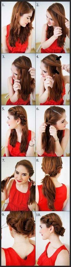 The Twisty Updo hair tutorial Das Twisty Updo Haar Tutorial My Hairstyle, Pretty Hairstyles, Easy Hairstyles, Girl Hairstyles, Hairstyle Tutorials, Sporty Hairstyles, Wedding Hairstyles, Elegant Hairstyles, Summer Hairstyles