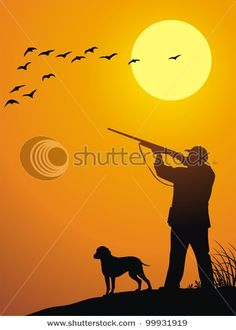stock-vector-the-man-together-with-a-dog-hunts-on-a-weft-on-a-sunset-99931919.jpg (336×470)