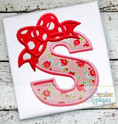"BOW LETTER S APPLIQUE MACHINE EMBROIDERY DESIGN 4 Sizes INSTANT DOWNLOAD  Letter S Comes in 4 sizes, perfect for adding a name to the design. Includes step-by-step color chart. Fits hoop sizes: 4 X 4 hoop, 5 X 7 hoop, 6 X 10 hoop, and 8 X 8 hoop.  Approximate Applique sizes and stitches: 4 X 4: 3.35"" X 3.85""; 6228 stitches 5 X 7: 4.69"" x 5.47""; 8730 stitches 6 X 10: 5.90"" x 6.98""; 11,178 stitches 8 X 8 hoop: 6.37″ X 7.49″; 11,270 stitches  Includes design formats: ART, DST, EXP, HUS, JEF…"