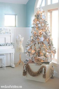 I like this stand idea for placing Christmas treen upon; very classy & smaller tree still takes center stage!