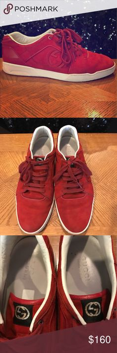 GUCCI Men's Red Suede Signature Logo Sneaker Size 10.5 Men's. Red Suede and Red Patent Leather. Made in Italy. Excellent Gently Worn Condition. Gucci Shoes Sneakers