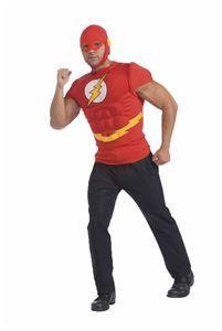 The Flash Adult Mens Muscle Shirt & Mask - 355227 | trendyhalloween.com