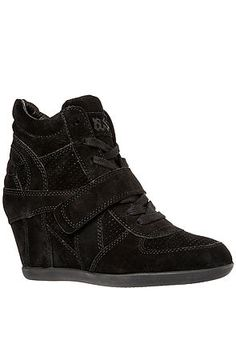 """The Bowie Sneaker in All Black Suede and Black Sole by Ash Shoes: Patchwork suede wedge sneaker with laced front and velcro strap detail; padded ankle collar; rubber sole; 2.5"""" hidden wedge heel. By Ash Shoes"""