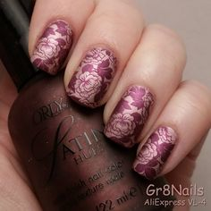Nail art using stamping plate VL-4 from AliExpress