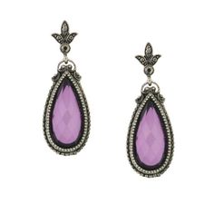 Silver-Tone Purple and Hematite-Color Stone Teardrop EarringsWe ve gone plum crazy for these large amethyst purple teardrop earrings! Measuring 2  long a pear shaped multifaceted amethyst tone stone is wrapped in a silver tone frame with a rich texture. The fleur de lis like post is accented with hematite stones that reflect a metallic shine.#vintagejewelry #fashionjewelry #costumejewelry #bridaljewelry #antiquejewelry