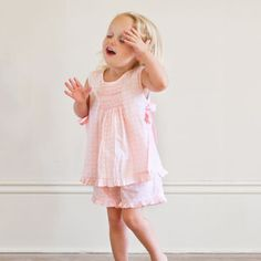 BLOOMER SET PINK WH POLKA DOTTED