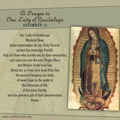 A Prayer to Our Lady of Guadalupe; Feast Day: December 12