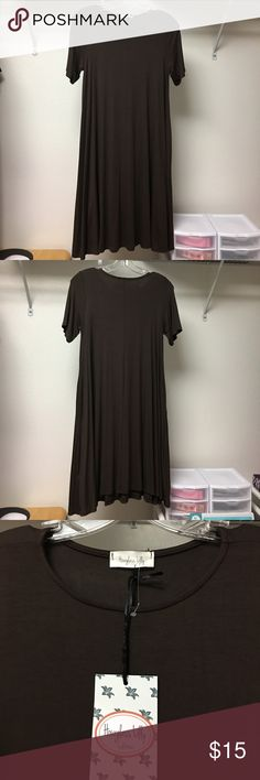 Hourglass Lilly Dress w/pockets -NEW Eden In Love Eden in Love- Hourglass Lilly Dress w/pockets, brown, Small/Medium ,S/S, rayon/spandex mix. Soft, comfortable material. hourglass lilly Dresses