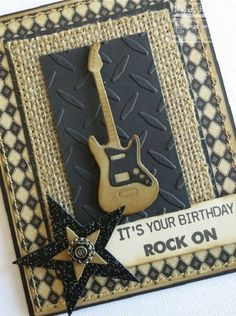 Handmade Birthday Card with electric guitar. #handmadecards