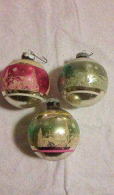 Beautiful Vintage LOT OF 3 Mercury Glass Stencil CHRISTMAS  Ornament