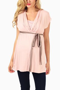 Super cute maternity top.  Love that is can be used for nursing after the baby arrives! Light-Pink-Mocha-Belted-Maternity/-Nursing-Top
