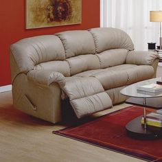 Palliser Furniture Callahan Reclining Sofa Upholstery: All Leather Protected - Tulsa II Stone, Leather Type: All Leather Protected, Type: Manual