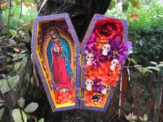 Día de los Muertos/Day of the dead~  Santa Muerte nicho, alter, folk art, Mexican, Day of the Dead.