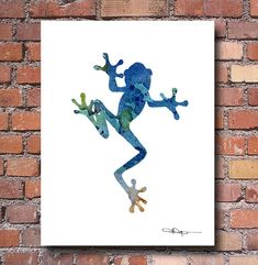Blue Tree Frog Art Print - Abstract Watercolor Painting - Wall Décor This is a professional quality giclee print from my original hand painted watercolor printed on acid free watercolor paper with archival inks to look and feel like the original. Print sizes are: 5 x 7 inches 8.5 x 11 inches 11 x 14 inches 13 x 17 inches 10-pack Note Cards with envelopes - 4.25 X 5.5 inches Please make your size selection before purchasing. Frame is not included. Shipping: 5 x 7 and 8.5 x 11 prints are ...