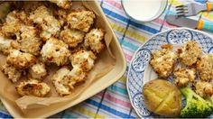 Homemade healthier, baked chicken or fish nuggets. Much nicer than the shop bought ones.