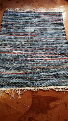 Denim with Red Fabric Handwoven Rag Rug, Floor Rug, Floor Runner Check out this item in my Etsy shop https://www.etsy.com/listing/232905005/denim-with-red-fabric-handwoven-rag-rug