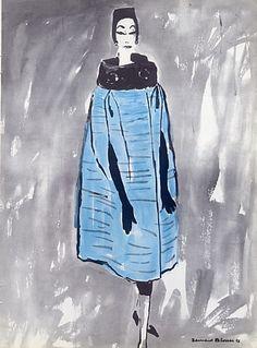 Hubert de Givenchy 1958 Velvet Cape, Fashion Illustration Verso Evening Gown  #EasyNip