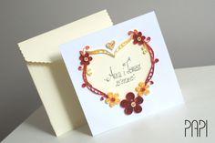 Kwadratowy telegram ślubny z kremowym sercem